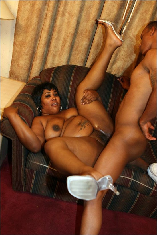Hot and horny ebony plumper Nomi takes some serios cock stuffing in her mouth to size him up and and then takes it in her juicy pussy